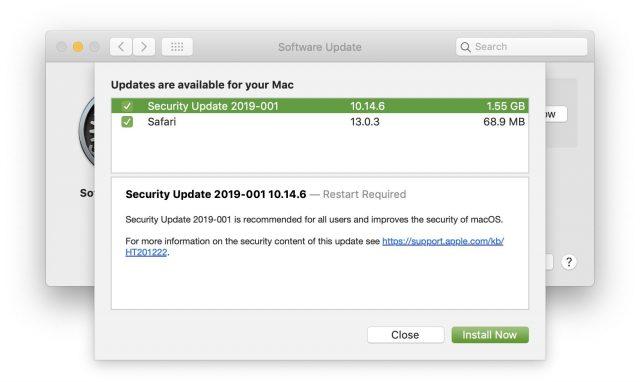 Security Update 2019-001 in Software Update
