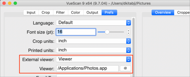 Setting up Photos output in VueScan