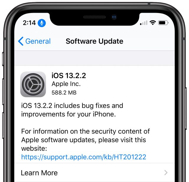 iOS 13.2.2 release notes