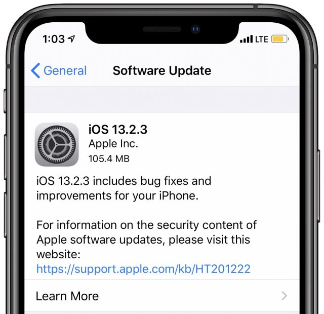 iOS 13.2.3 release notes