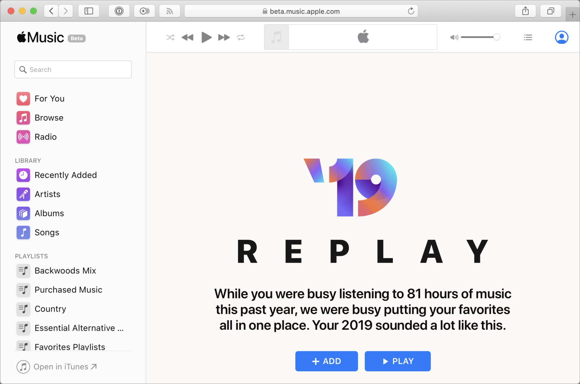 2019 Replay in Safari