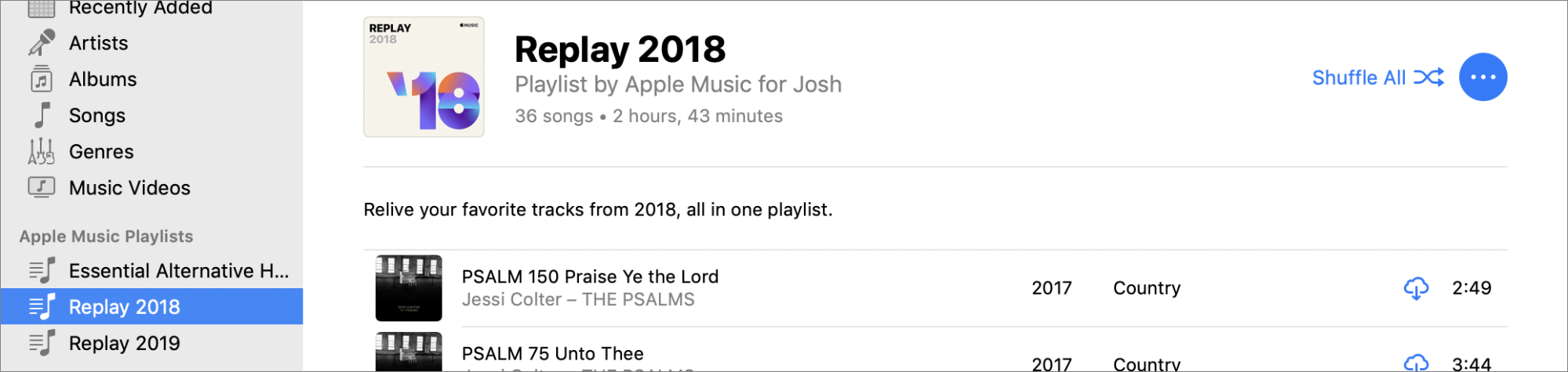 Josh's Replay 2018 playlist