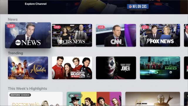The News section in the Apple TV app