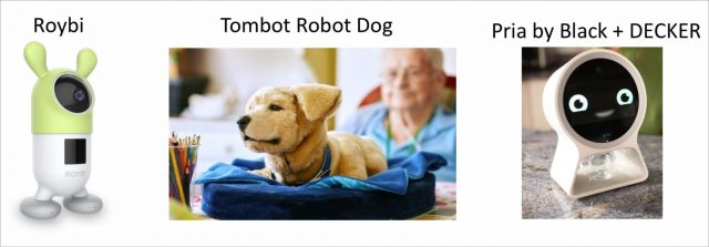 The Roybi, Tombot Robot Dog, and Pria by Black & Decker