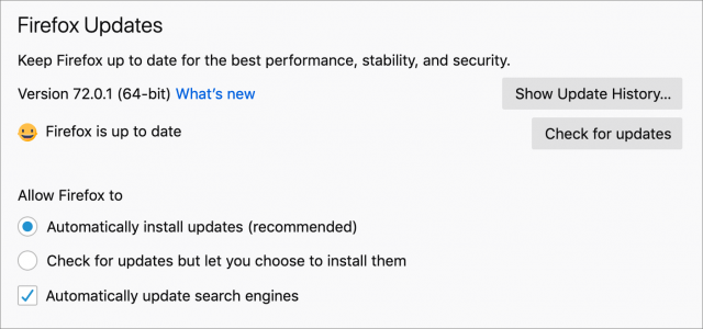 Firefox update settings