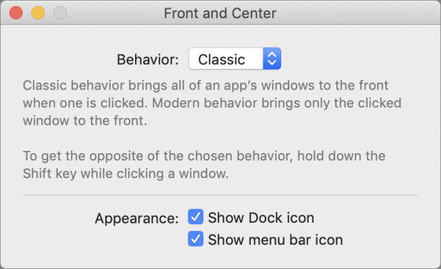 Front and Center's settings window