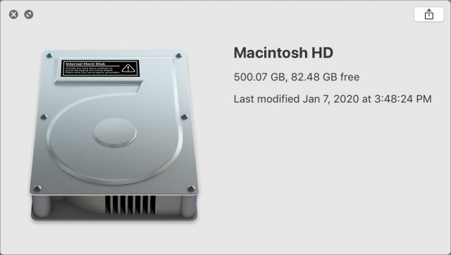 Quick Look window showing drive called Macintosh HD