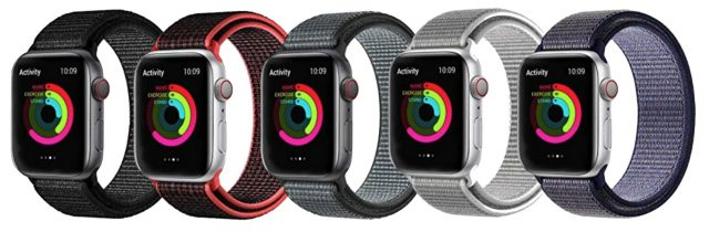 Five-pack of knock-off Sport Loop Apple Watch bands