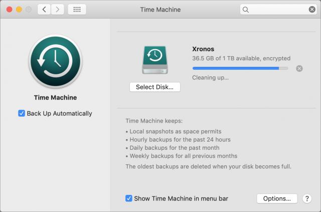 Time Machine preference pane