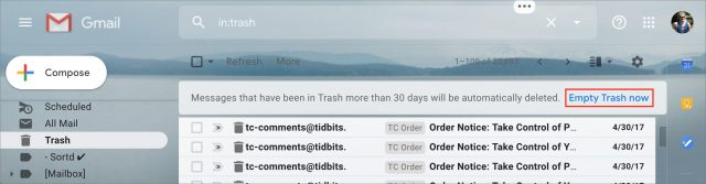 Emptying Trash in Gmail