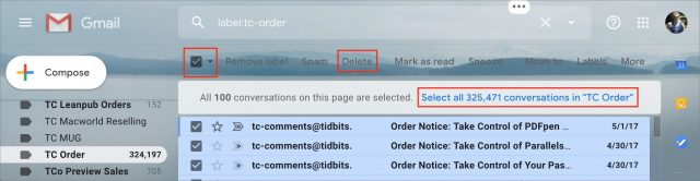 Selecting and deleting messages in Gmail