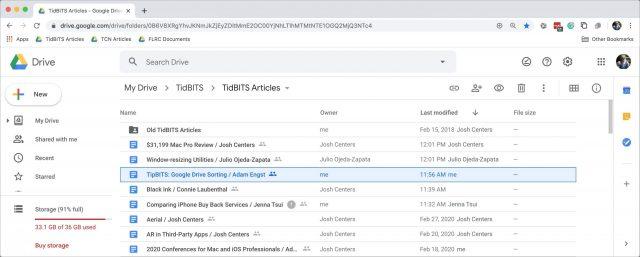 Google Drive file listing
