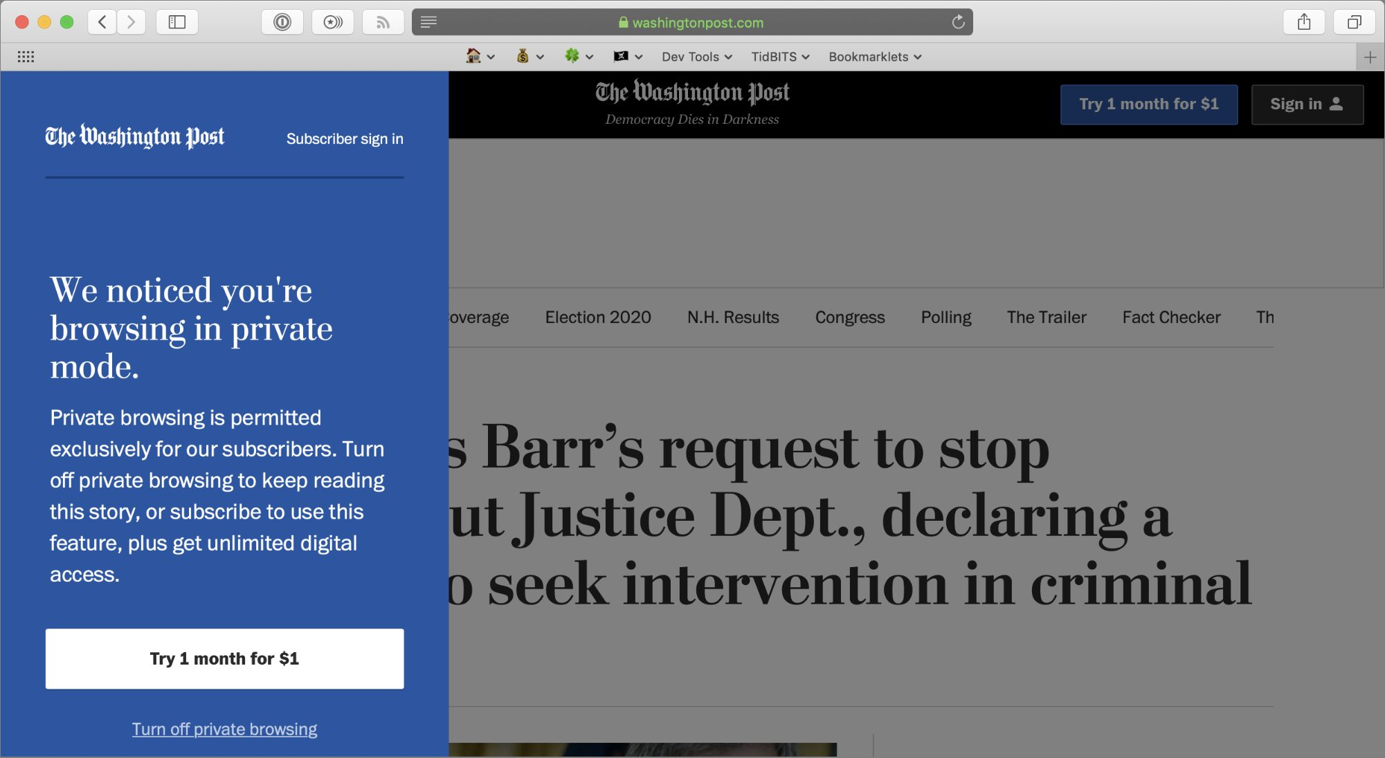 The Washington Post blocking private browsing