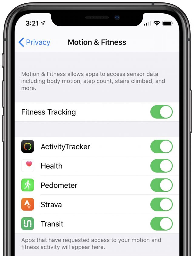 Enabling fitness tracking in iOS