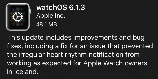 watchOS 6.1.3 release notes
