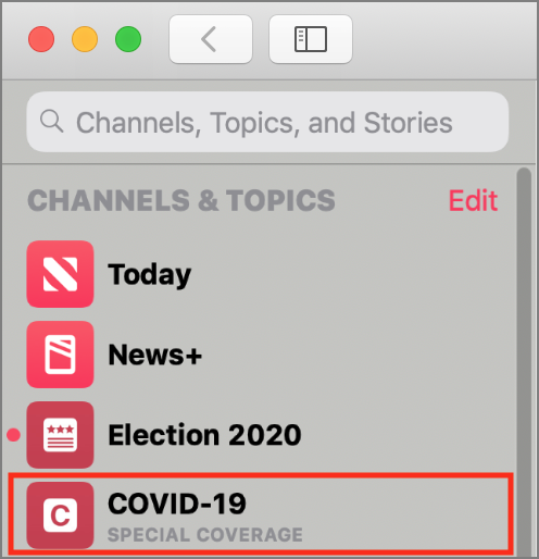 Apple News COVID-19 section