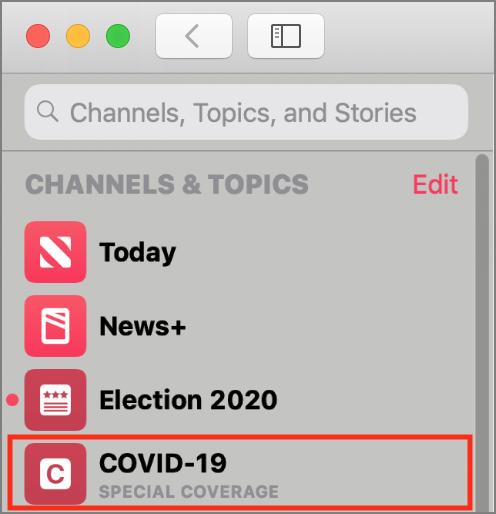 Apple News COVID-19 sectie