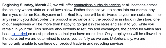 An email from Best Buy announcing curbside service.