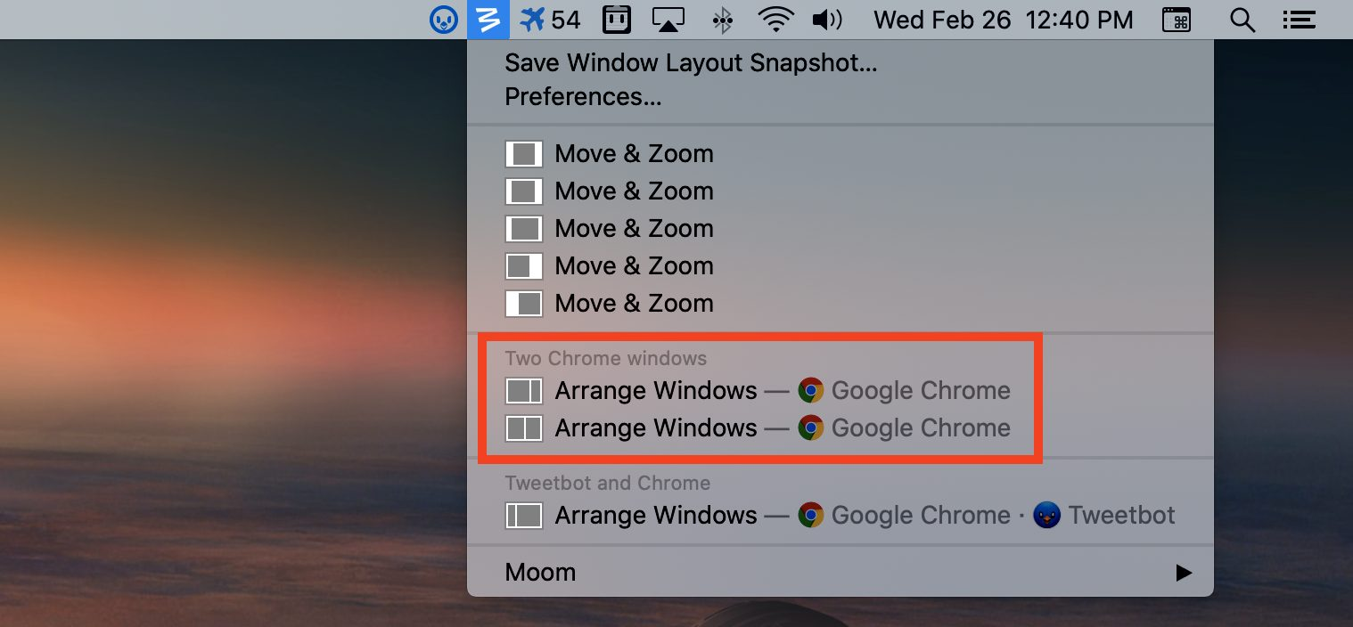 Repositioning windows with Moom from the menu bar