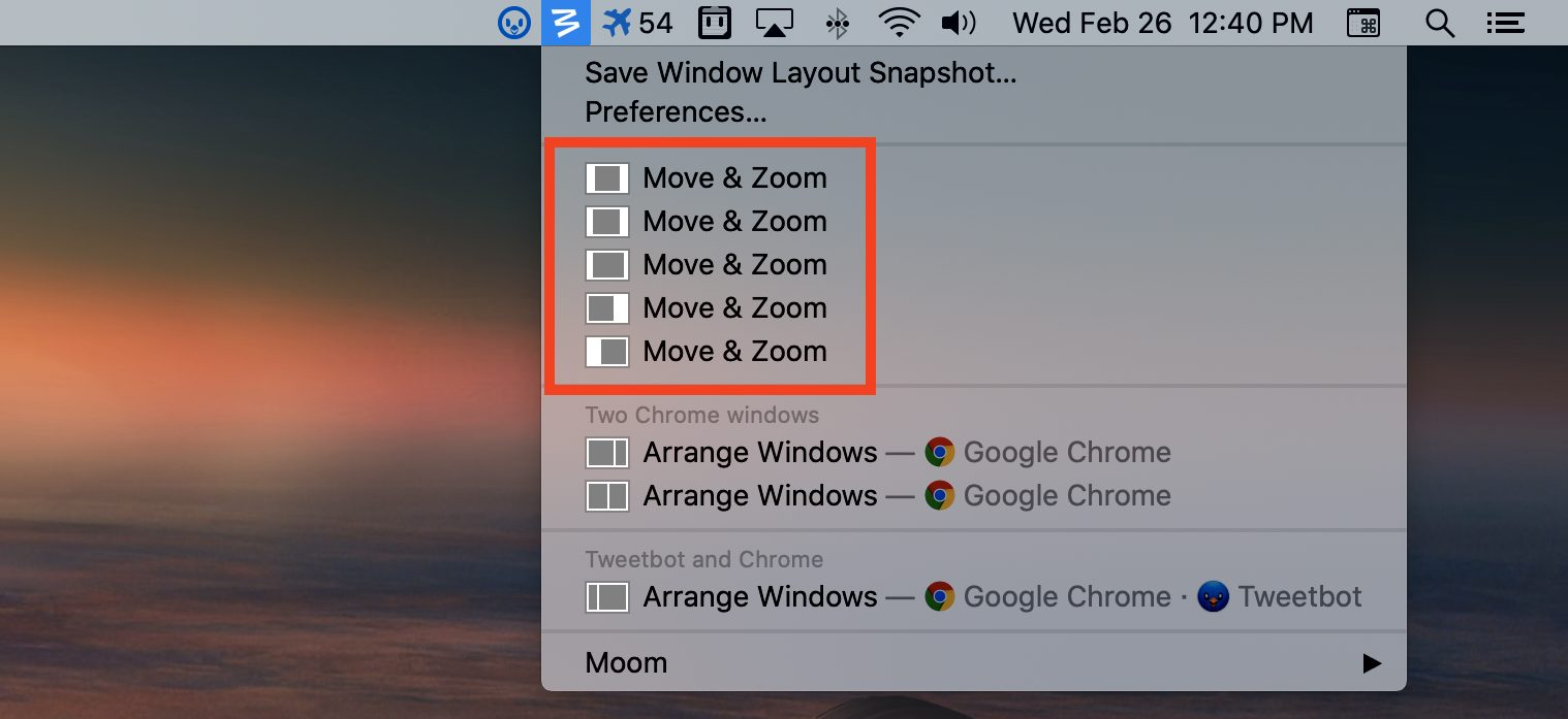 Moom presets in the menu bar
