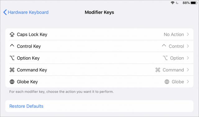 iPadOS modifier key settings