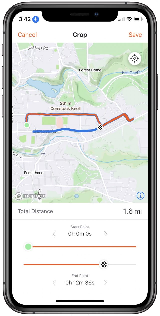 Cropping routes in Strava