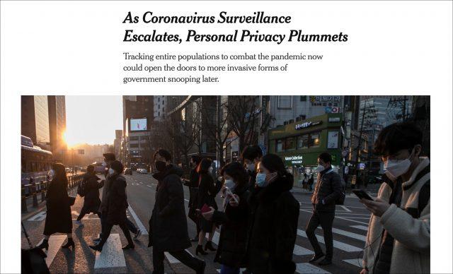 New York Times coronavirus article headline