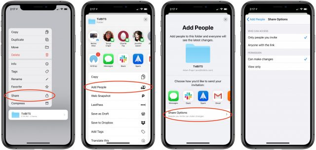The steps to share a folder in iOS 13.4