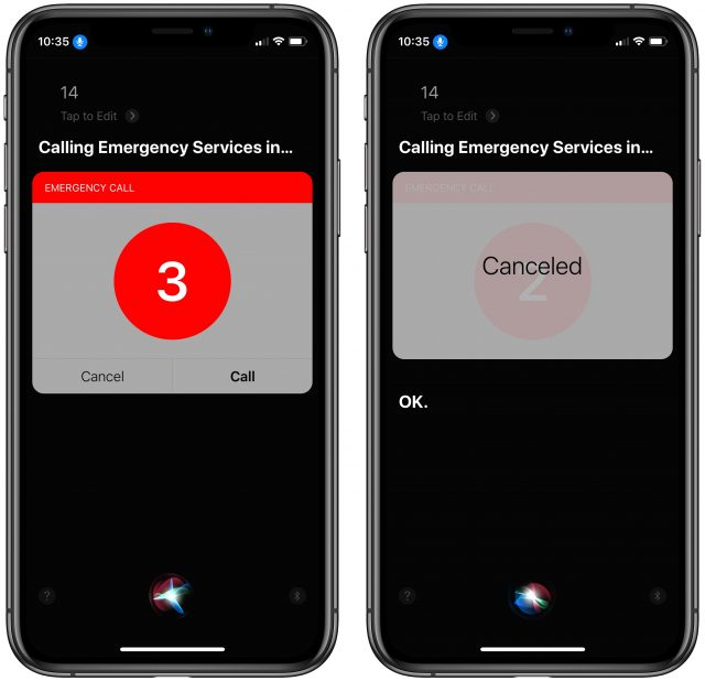 Siri calling 14 emergency number