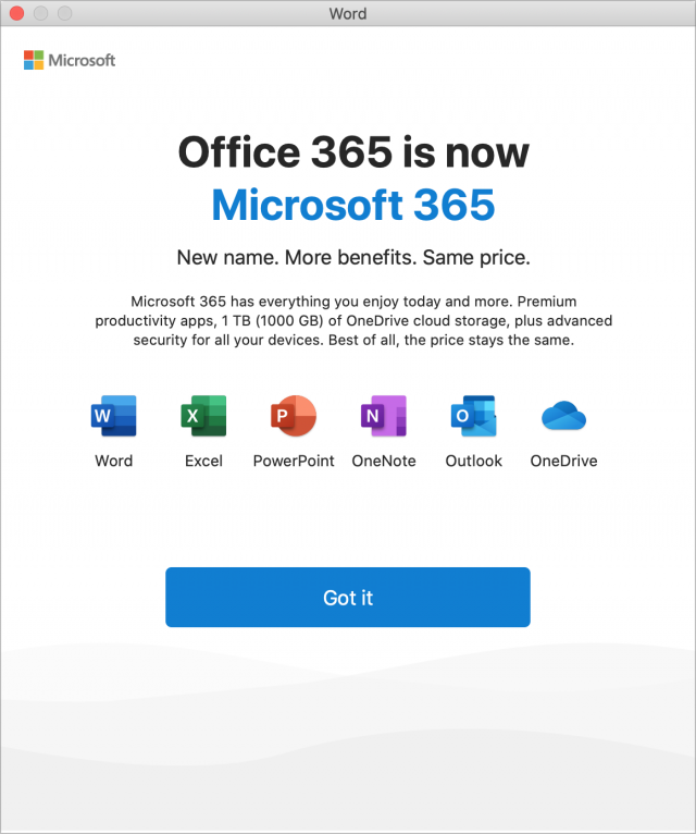 Microsoft 365 brand change splash screen