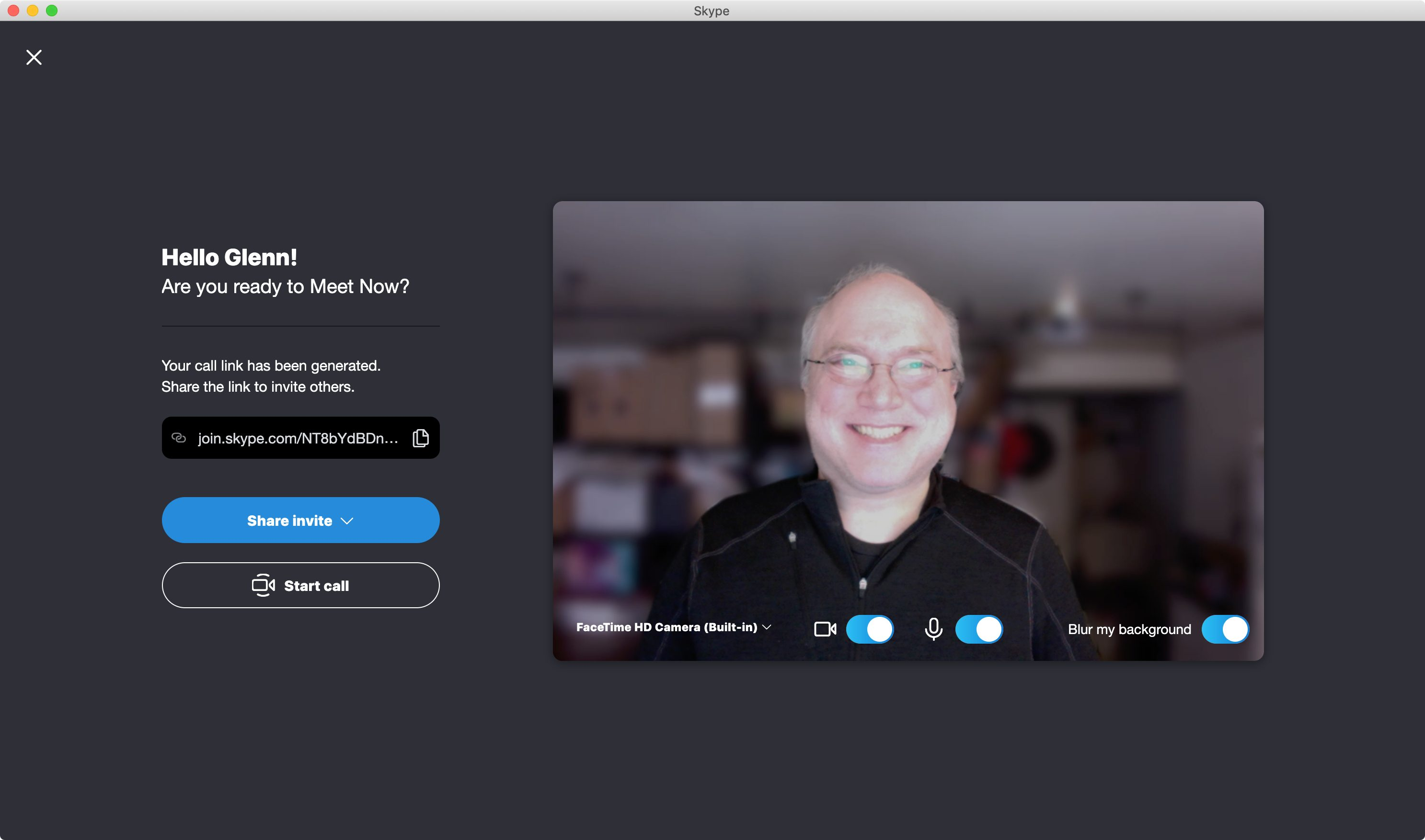 Skype Meet Now interface