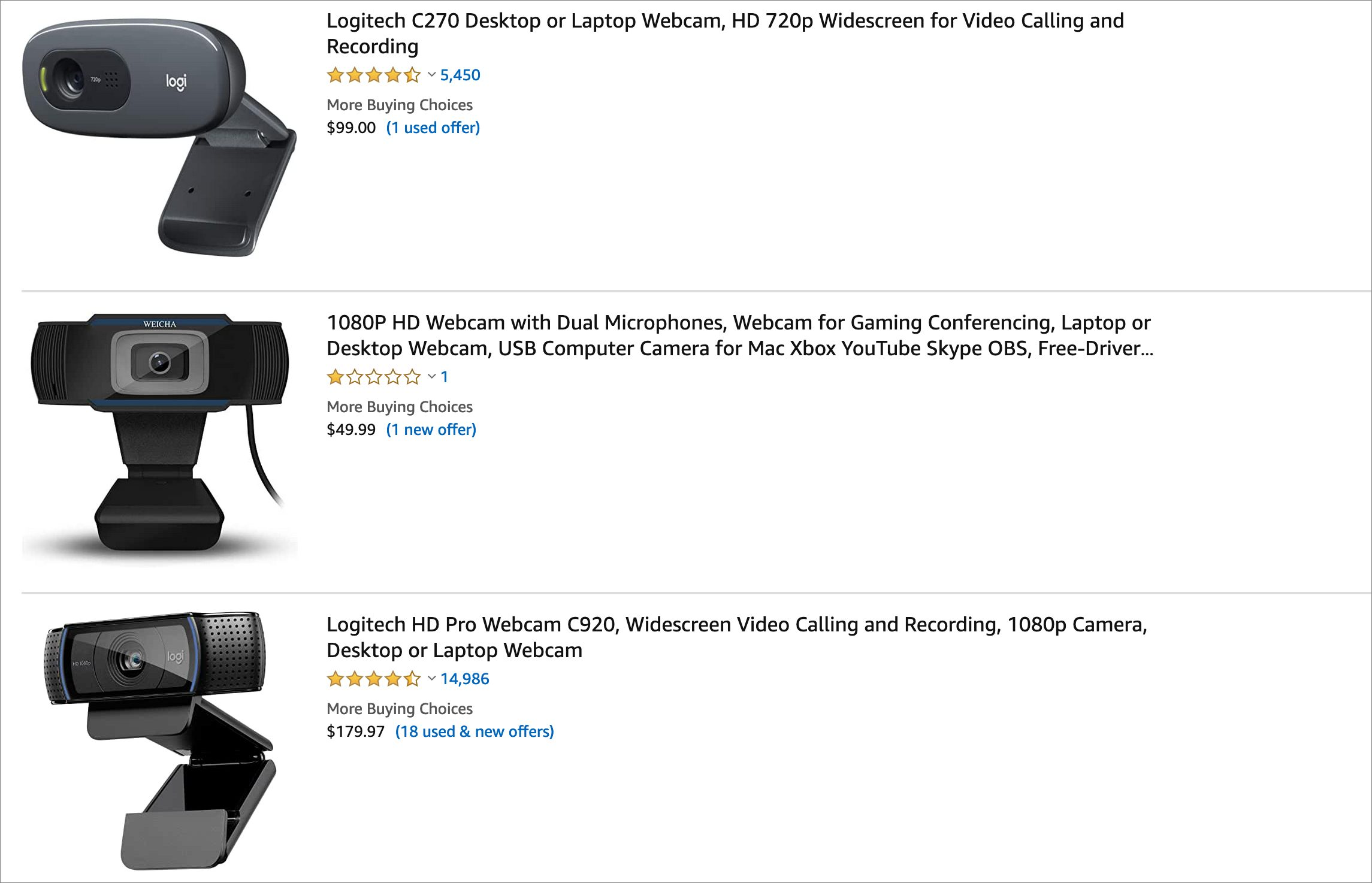 A sample of webcams sold out on Amazon