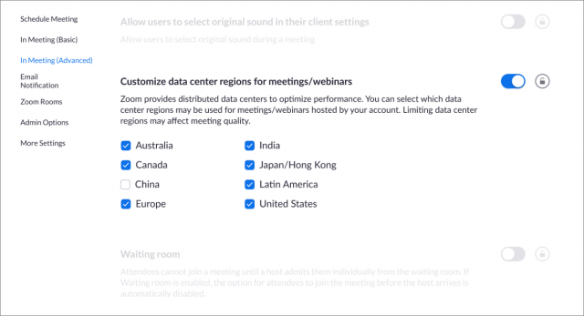 Zoom data center region settings