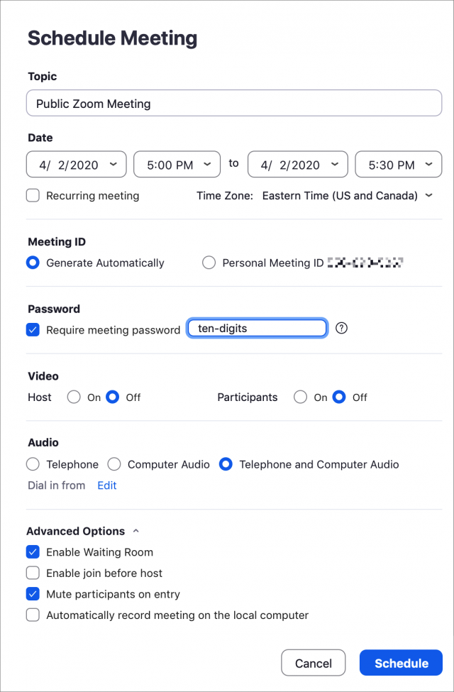 Scheduling a meeting in Zoom