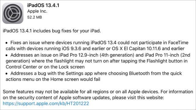 iPadOS 13.4.1 release notes