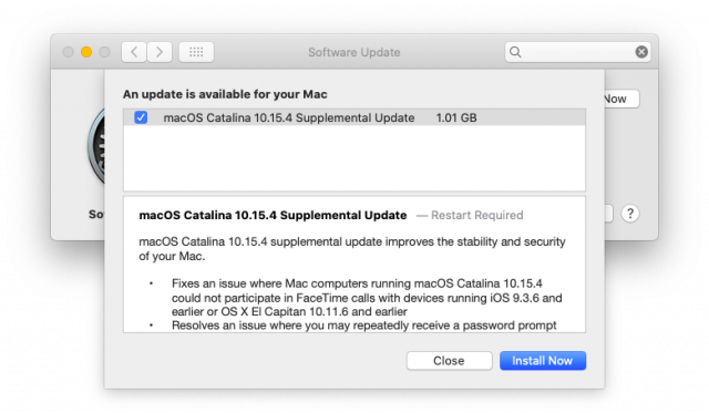 Het updatevenster voor de Supplemental Update voor macOS 10.15.4