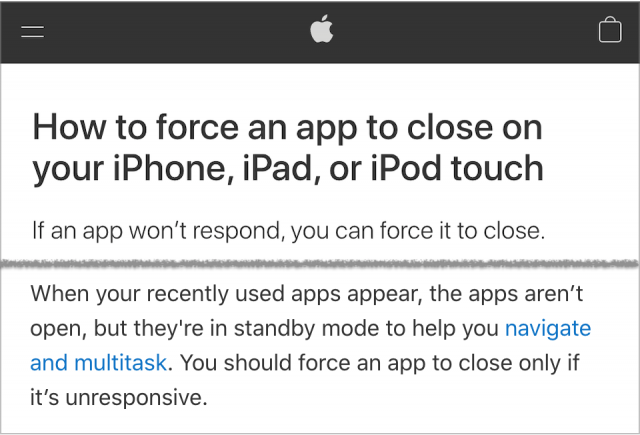 Apple advice on force-quitting apps