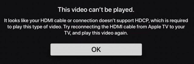 Een HDCP-foutmelding vanaf de Apple TV