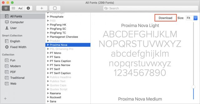 A screenshot of Font Book with Proxima Nova selected.
