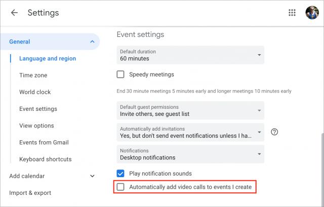 Google Calendar video call setting
