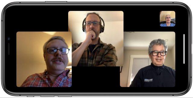 Schermafbeelding van de TidBITS-ploeg in een Group FaceTime-gesprek