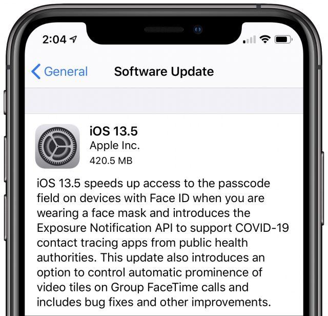 Een schermafbeelding van de toelichting bij iOS13.5