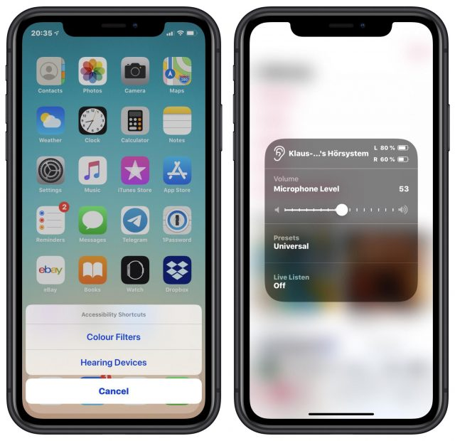 Using the accessibility shortcut