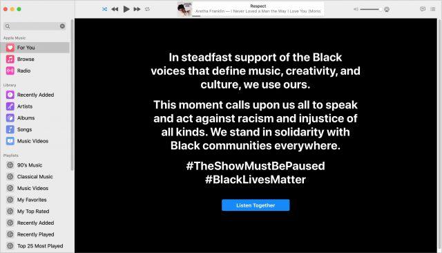 Apple Music #BlackLivesMatter statement