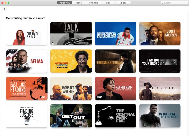 Apple TV Confronting Systemic Racism section