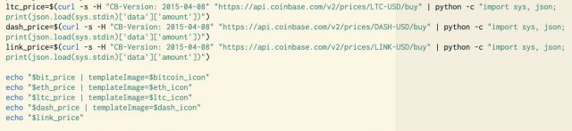 Code modified in the Coinbase Prices plug-in to show LINK.