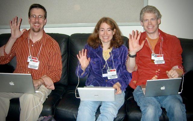Jeff Carlson, Tonya Engst, and Adam Engst at Macworld Expo