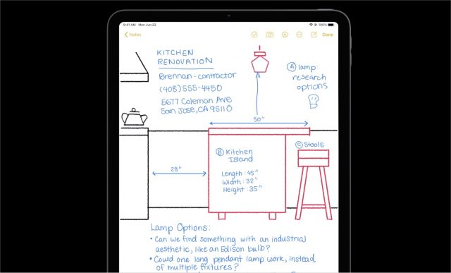 Sketching in iOS 14 Notes