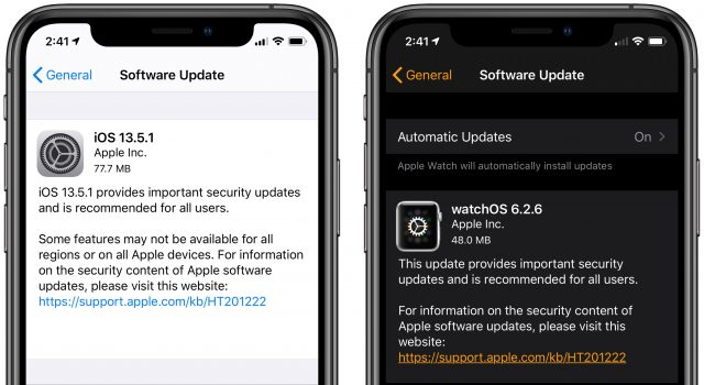 iOS 13.5.1 and watchOS 6.2.6
