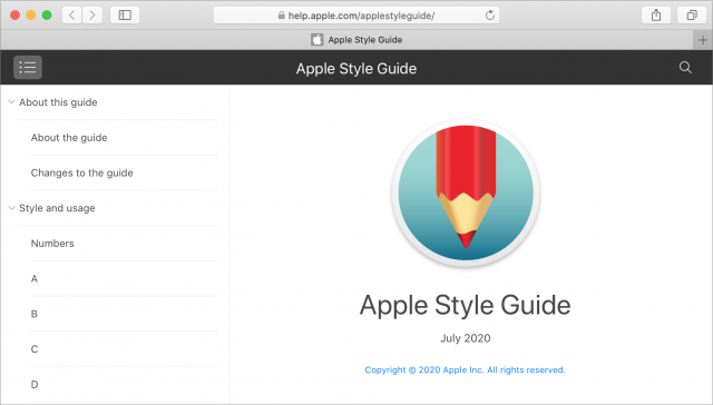 Apple Style Guide Web interface